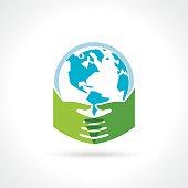 Helping hand make tree on earth