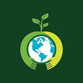 Helping hand make tree on earth - vector illustration