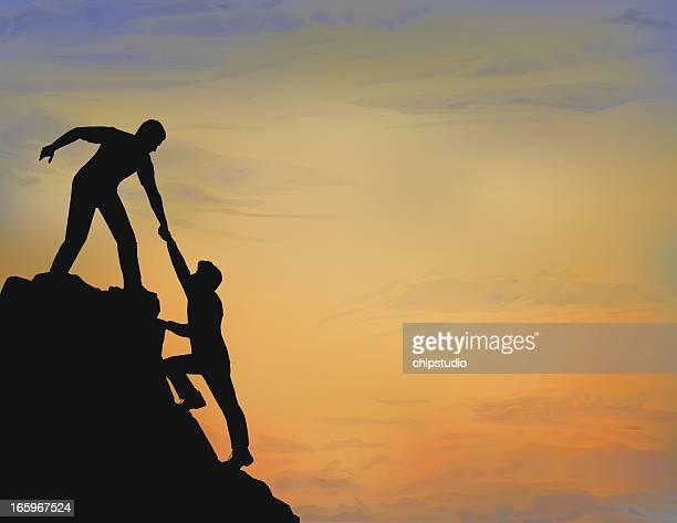 helping hand - rock climbing stock illustrations, clip art, cartoons, & icons