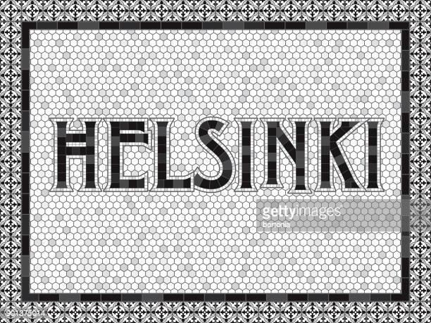 helsinki old fashioned mosaic tile typography - helsinki stock illustrations, clip art, cartoons, & icons