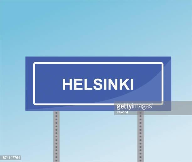 helsinki road sign - helsinki stock illustrations, clip art, cartoons, & icons