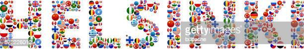 helsinki world flags vector buttons - helsinki stock illustrations, clip art, cartoons, & icons