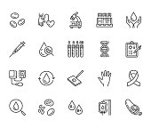 Hematology flat line icons set. Blood cell, vessel, sphygmomanometer, dna test, biochemical microscope vector illustrations. Outline signs for donor day. Pixel perfect 64x64. Editable Strokes