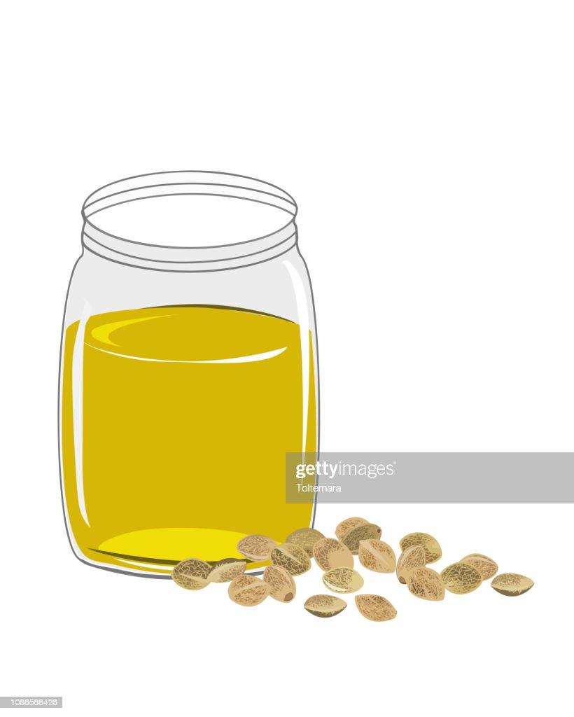 Hemp oil n a glass jar isolated on a white background. Vector