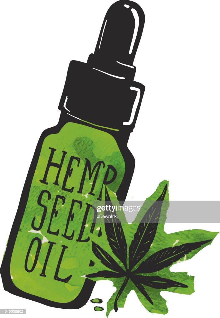 Hemp seed oil label and bottle with marijuana leaf : Stock Illustration