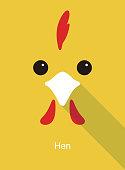 hen face flat icon design, vector illustration