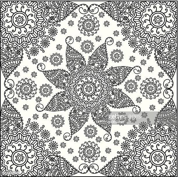 ヘナのフレーム花 - バンダナ点のイラスト素材/クリップアート素材/マンガ素材/アイコン素材