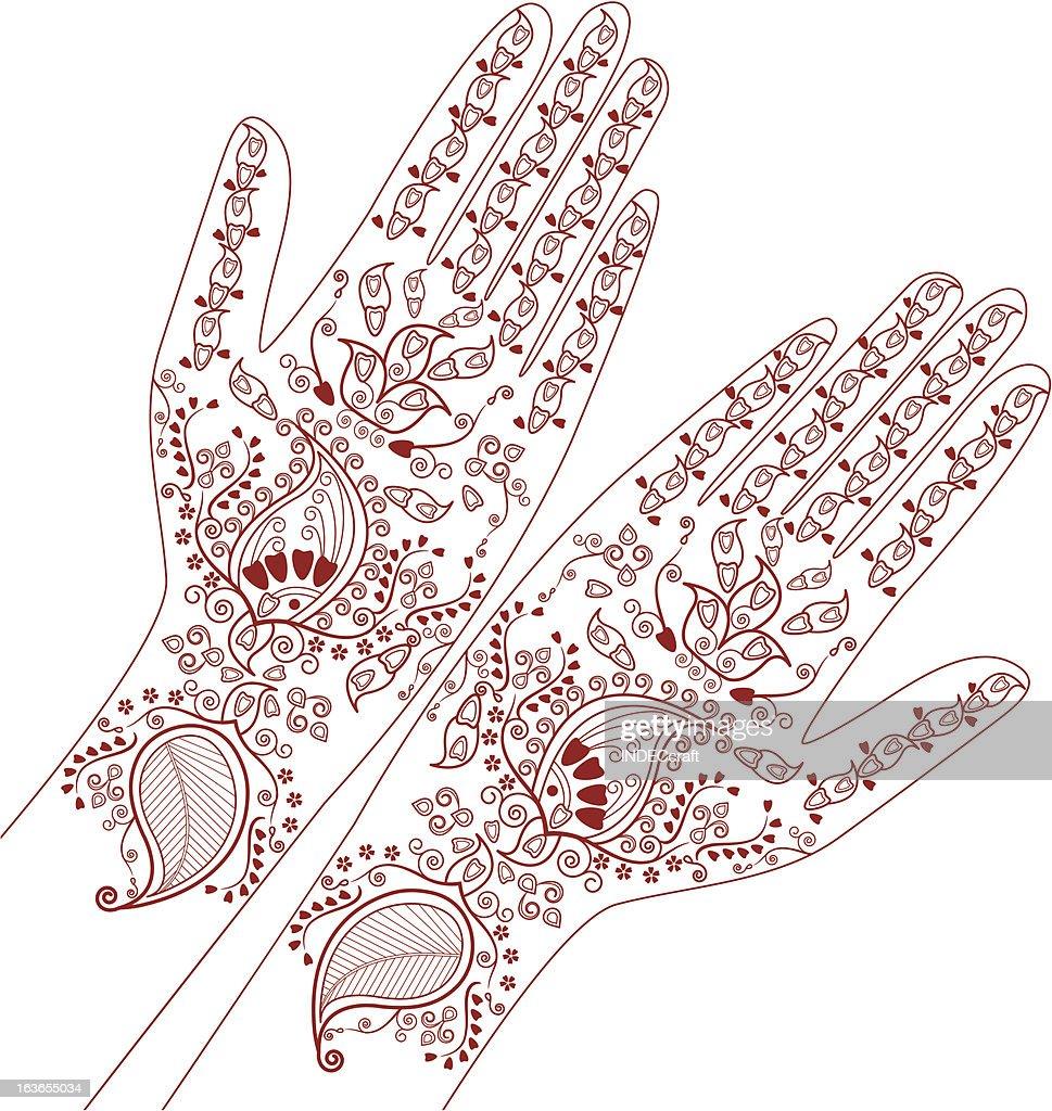 Henna Hand Draw Design Vector Art Getty Images