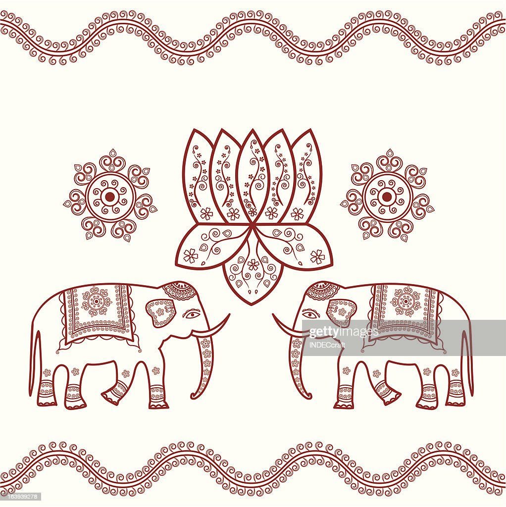 Henna Lotus With Elephant Vector Art Getty Images