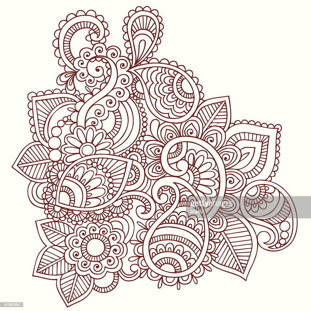 Henna Mehndi Doodle Paisley Design Elements Vector Art Getty Images