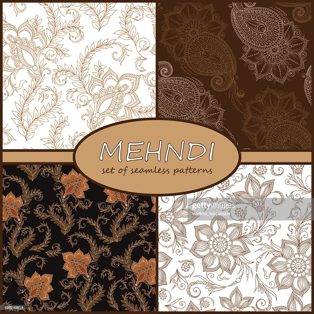 Henna Mehndi Tattoo Doodles Seamless Pattern Background Collecti