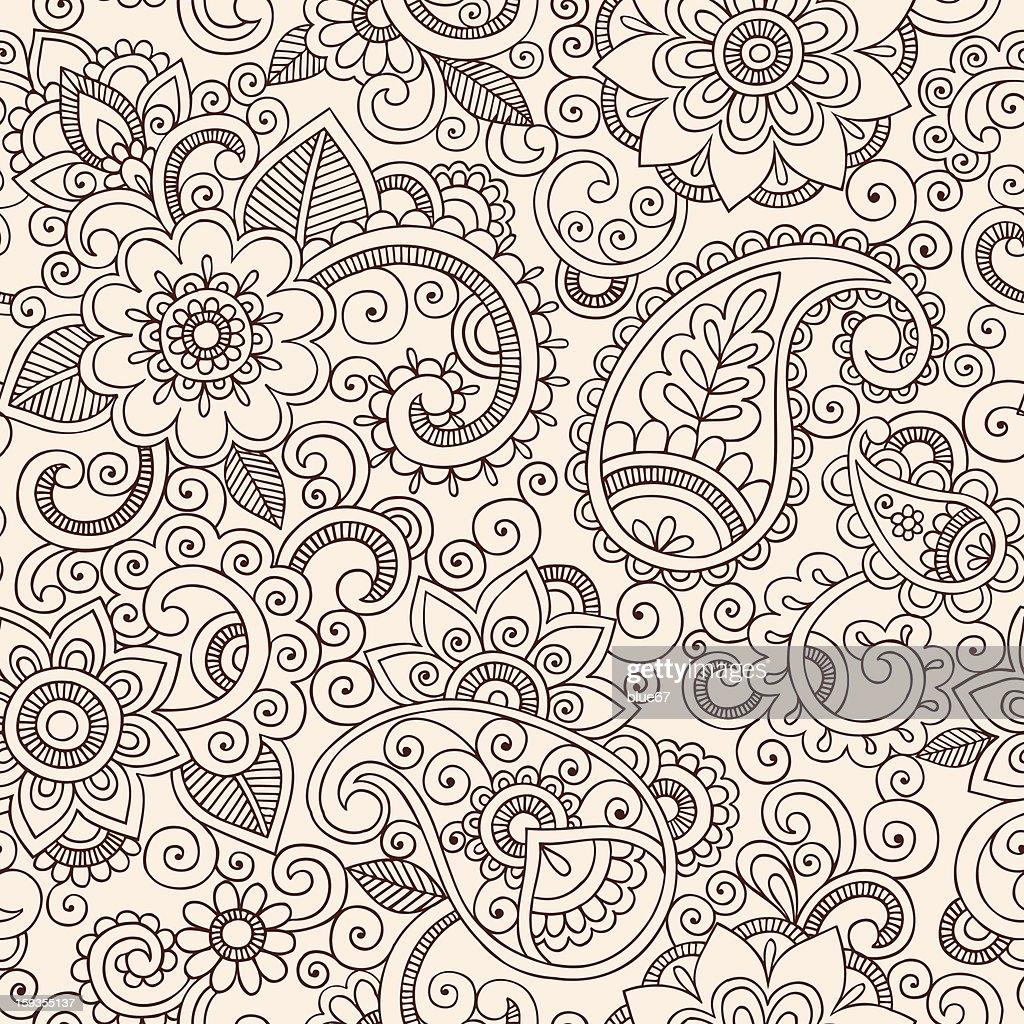 Henna Mehndi Tattoo Pattern Paisley Floral Doodle Vector Design