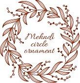 Henna ornamental circle border. Mehndi style.