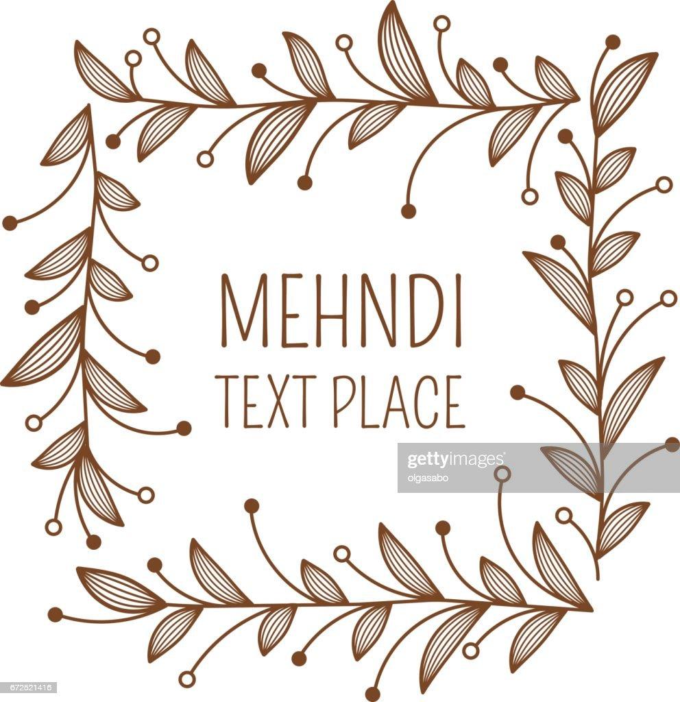 Henna ornamental square border. Mehndi style.