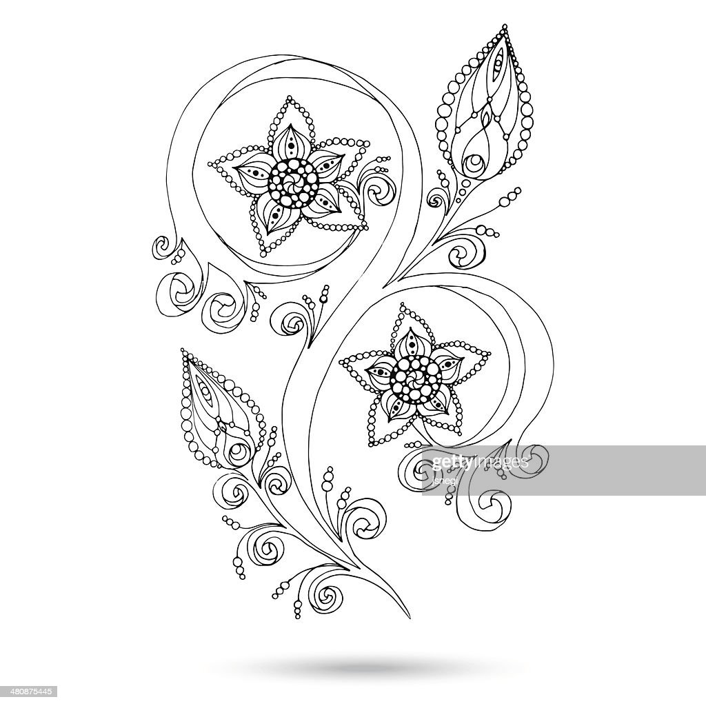 Henna Paisley Mehndi Doodles Design Element. Black and white version.