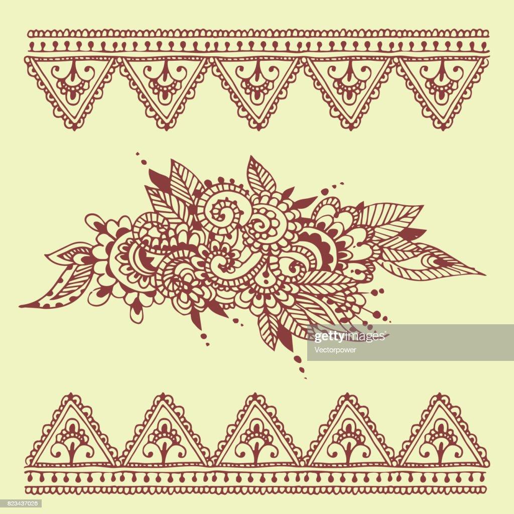 henna tattoo braun mehndi blume doodle ornamentalen dekorative indische design muster paisley arabesken mhendi verzierung vektor - Henna Tattoo Muster