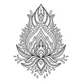 Henna tattoo flower template in Indian style. Ethnic  paisley Lotus.