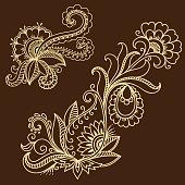 Henna tattoo flower template. Mehndi style.