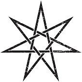 Heptagram or Elven Fairy unicursal Star vector isolated illustration. Witchcraft Heptagram distressed symbol.