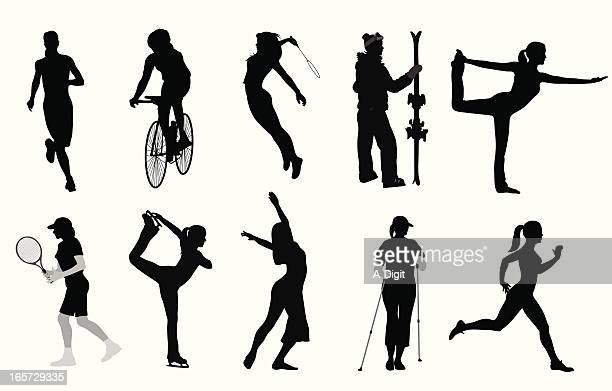 her game vector silhouette - badminton sport stock illustrations, clip art, cartoons, & icons