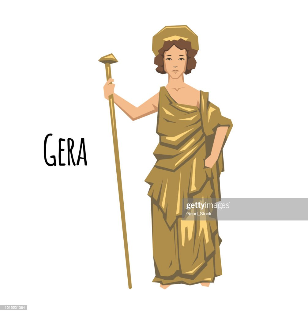 Hera, ancient Greek goddess of Marriage, Mothers and Families. Mythology. Flat vector illustration. Isolated on white background.