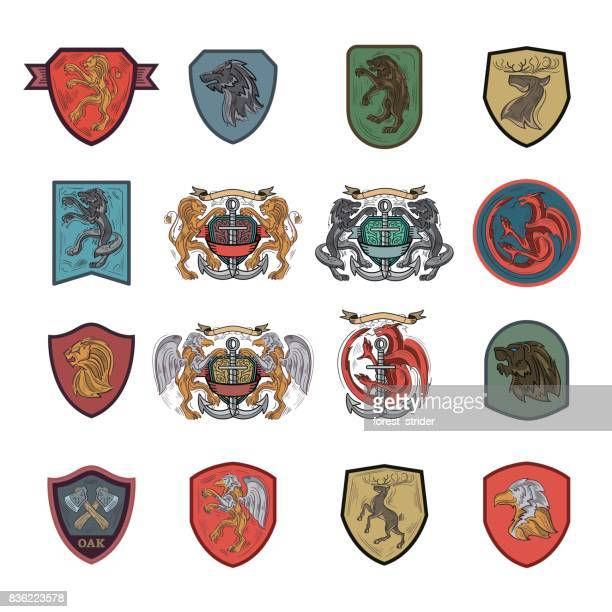 heraldic and coat of arms emblem icons - shield stock illustrations