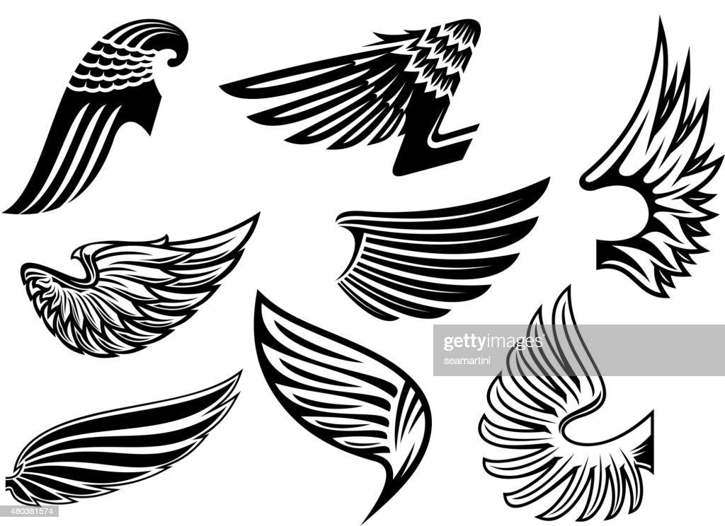 Heraldic angel black and white wings