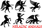 Heraldic animals emblems and icons