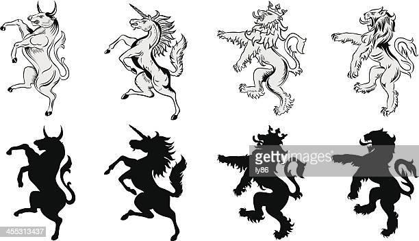 heraldic animals - bull animal stock illustrations