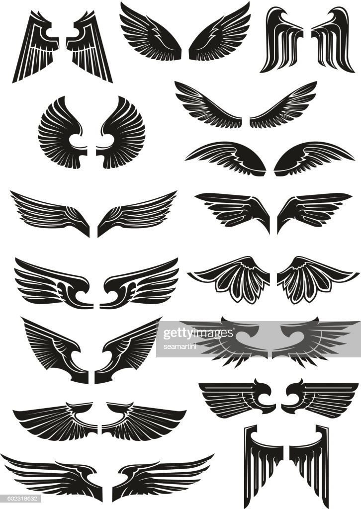 Heraldic black wings vector icons set