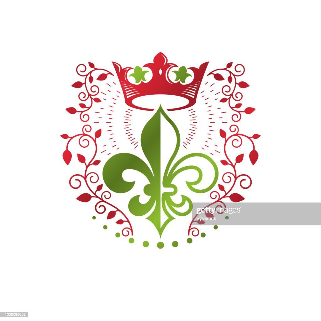 Heraldic coat of arms decorative emblem with lily flower and royal crown, eco product. Isolated vector illustration, Fleur-De-Lis.