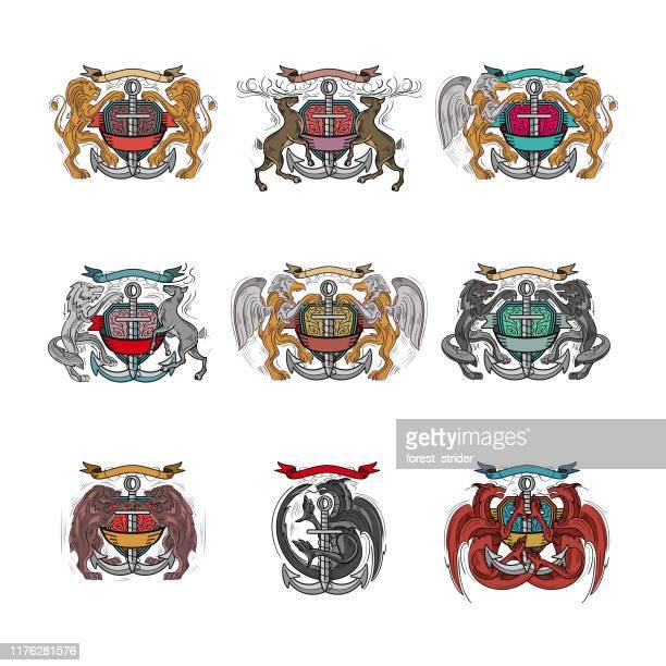 ilustrações, clipart, desenhos animados e ícones de brasão de armas heráldico - insígnia