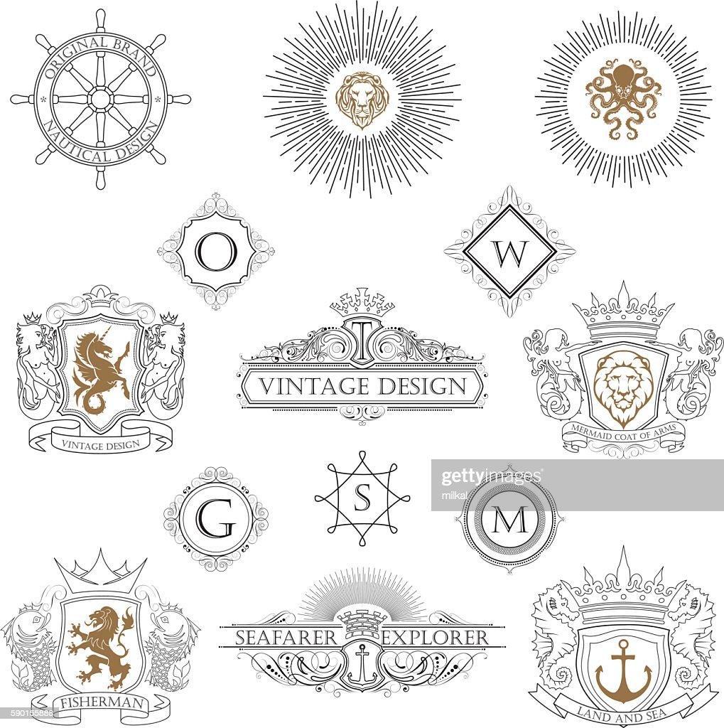 Heraldic collection of nautical design