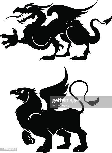 heraldic creatures - griffin stock illustrations, clip art, cartoons, & icons