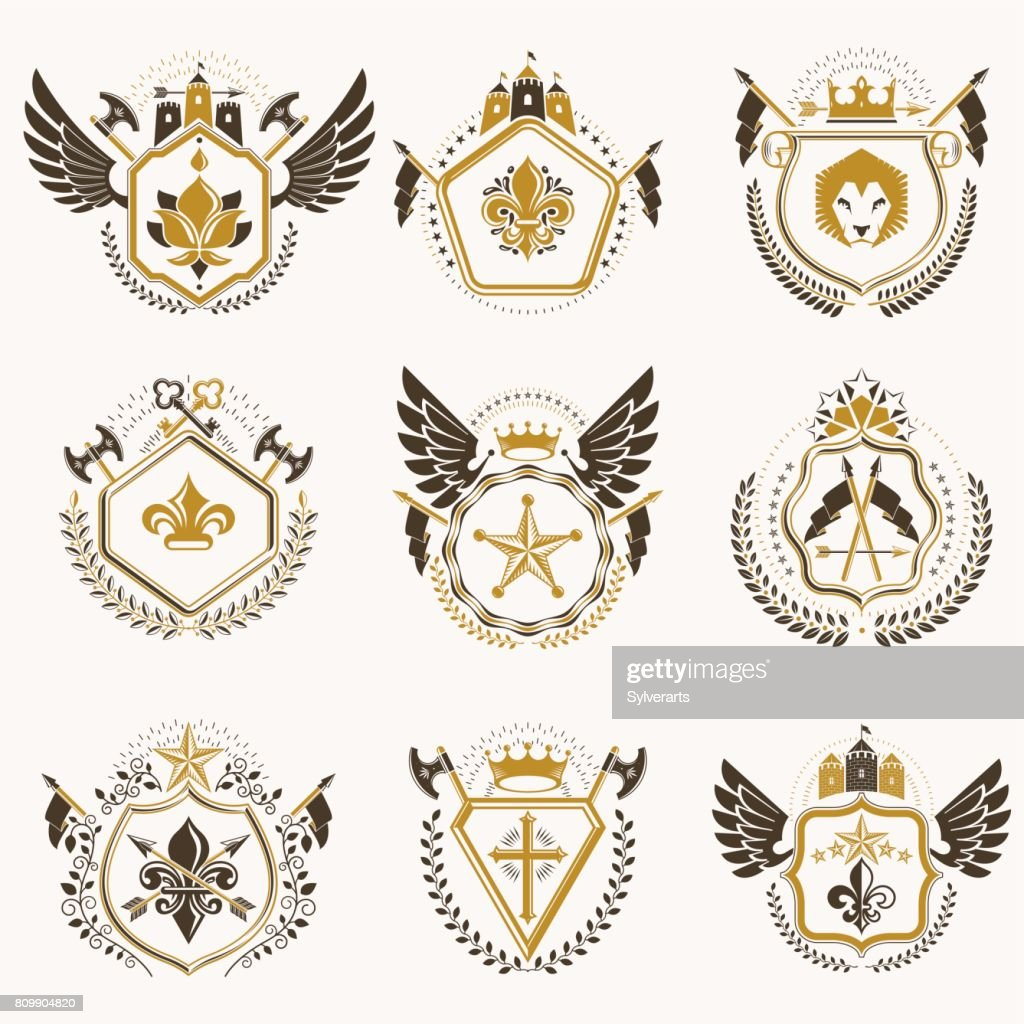 Heraldic Decorative Emblems Made With Royal Crowns Animal