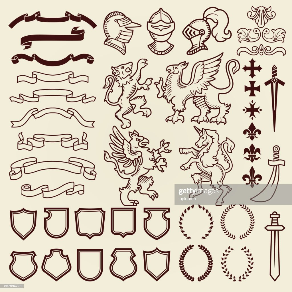 Heraldic design vintage retro shield clipart royal chest elements medieval knight ornament vector illustration