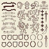Heraldic design vintage retro shield clipart royal chest elements medieval knight ornament vector illustration