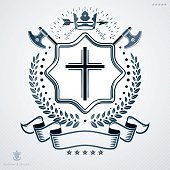 Heraldic emblem made using graphic elements like hatchets, crown and religious cross, vector illustration.