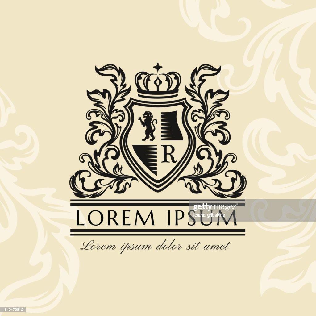 Heraldic emblem template. Vintage ornamental emblem