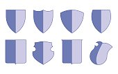 Heraldic escutcheons for coat of arms set, shield templates, isolated vector, can be used for icona and banners