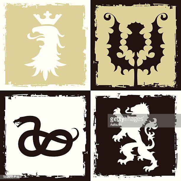 heraldic grunge - thistle stock illustrations