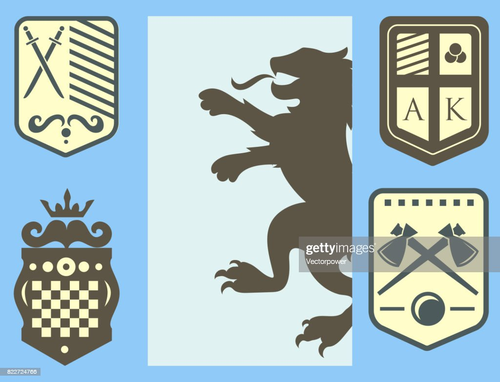 Heraldic lion royal crest medieval knight silhouette vintage king symbol heraldry castle badge vector illustration