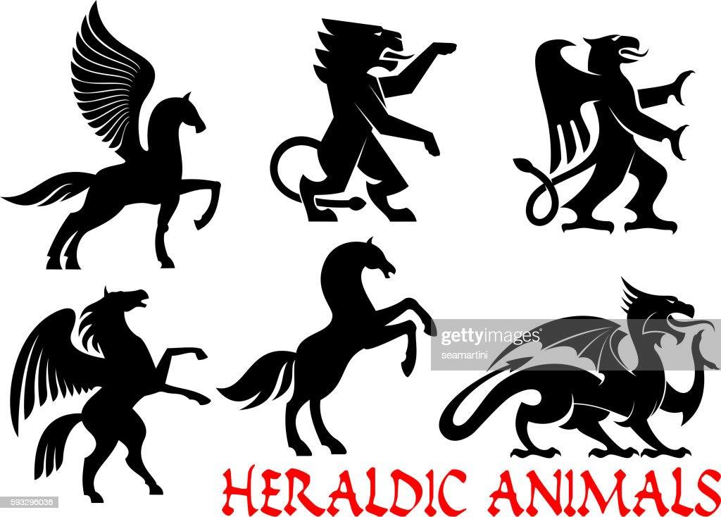 Heraldic mythical animals vector icons