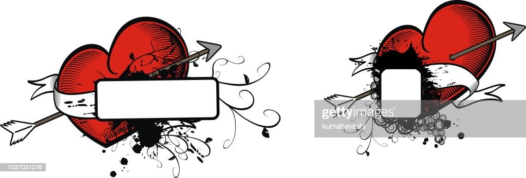 heraldic red heart tattoo copy space set5