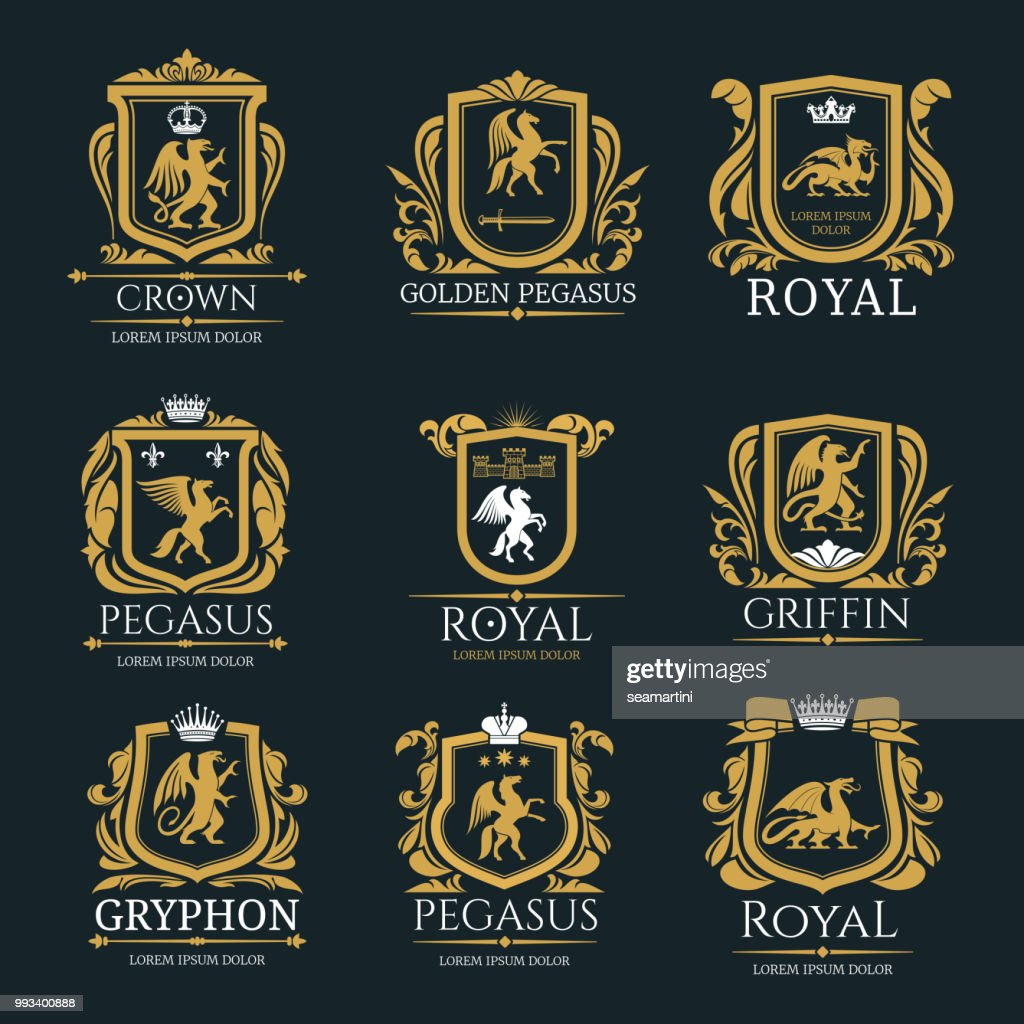 Heraldic royal animals vector isolated icons