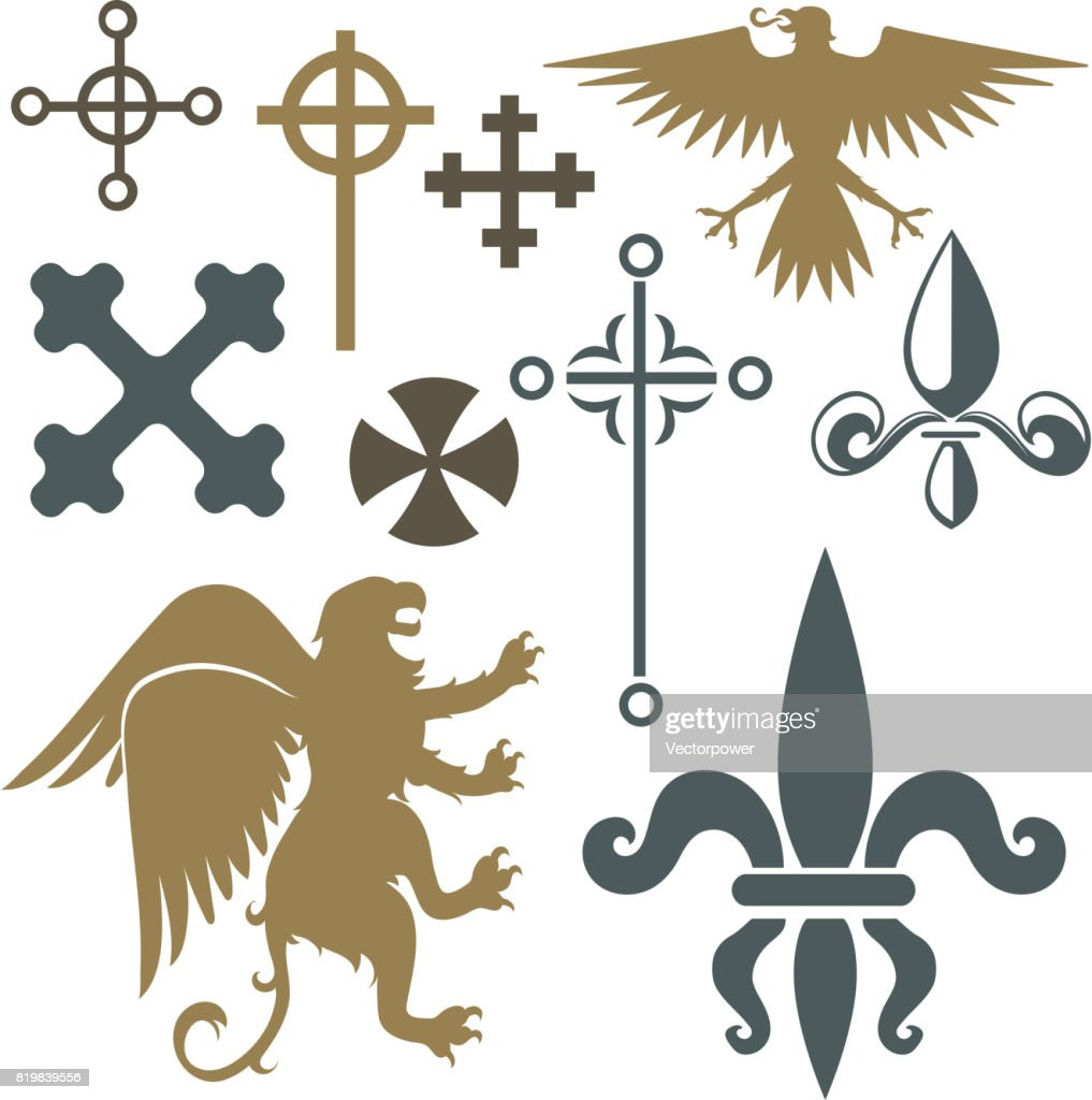 Heraldic royal crest medieval knight elements vintage king symbol heraldic royal crest medieval knight elements vintage king symbol heraldry castle badge vector illustration biocorpaavc Gallery