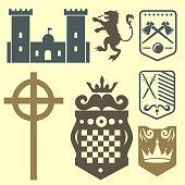 Heraldic royal crest medieval knight elements vintage king symbol heraldry castle badge vector illustration