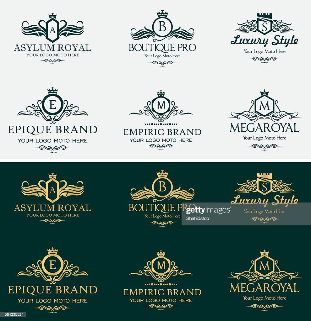 Heraldic Royal Luxurious Crest Logos Set