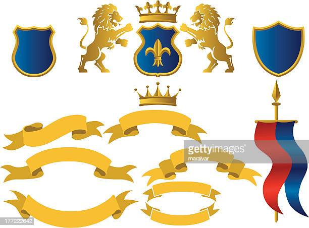 heraldic シールド付きリボン - フルールドリス点のイラスト素材/クリップアート素材/マンガ素材/アイコン素材