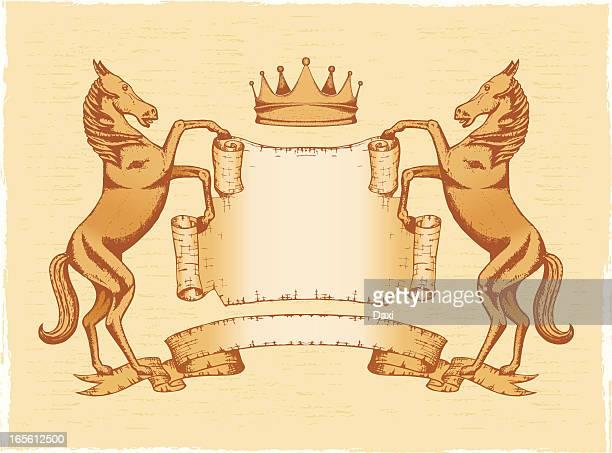 heraldic shield_horse_crown - two animals stock illustrations
